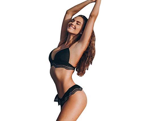QingJiu Damen Bademode Bandage Bikini Set Push-Up Gepolsterter BH Bade Beachwear (Schwarz, Large)