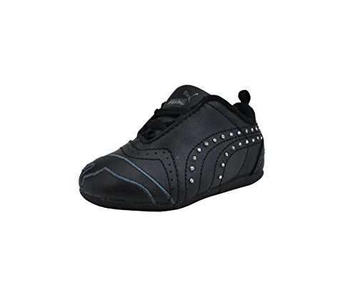 Puma Shoes Sela Diamond Rhinestone Infant Toddler Black Sneakers (4 M US Toddler)