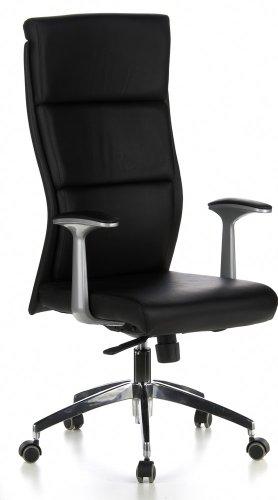 hjh OFFICE 600400 Bürostuhl Chefsessel MONZA 20 Leder schwarz, sehr robuste A...