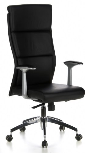 hjh OFFICE 600400 Bürostuhl Chefsessel MONZA 20 Leder schwarz, sehr robuste Ausfüh...