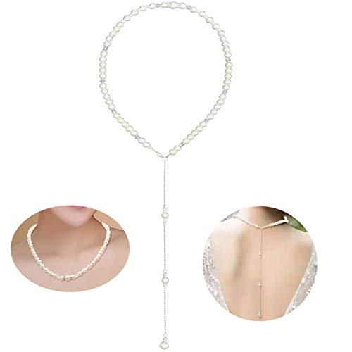 LONGBLE Perlen Rückseite Halskette, Braut rückenkette Damen Exquisite Halskette Y-Kette Brautschmuck, Perlenkette Perle Hintergrund Halskette Zurück Legierung Kette Körperkette Bauchketten