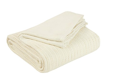 EHC 230 x 230 cm Double 100 Percent Pure Cotton Soft Hand Woven Lightweight Adult Cellular Blanket, Cream