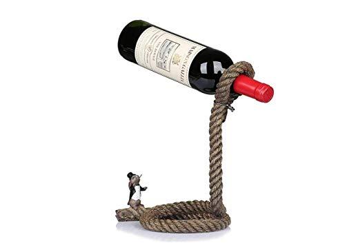 (ZSJJ Magic Wine Bottle Rope Lasso Holder - Floating Illusion Einzelständer Für Weinflaschen, Hält Flaschen In Der Luft Schwebend, Bar-Dekoration, H 28 cm,Kreativ,Weinregal)