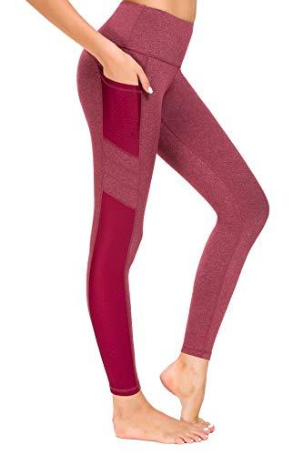 Munvot Tailored Geschenke SporthoseDamen SportLeggings Tights Laufhose Jogginghose Yogahosen für Damen - Wein Rot/M (38-40)