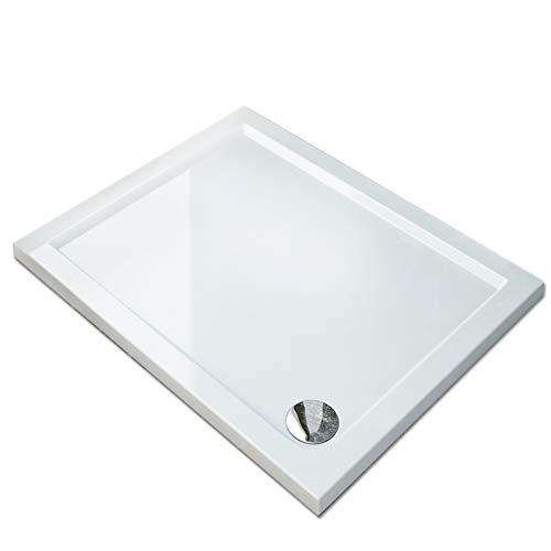 SIRHONA Receveur de douche extra plat 100x70x4 cm bac a douche rectangulaire blanc