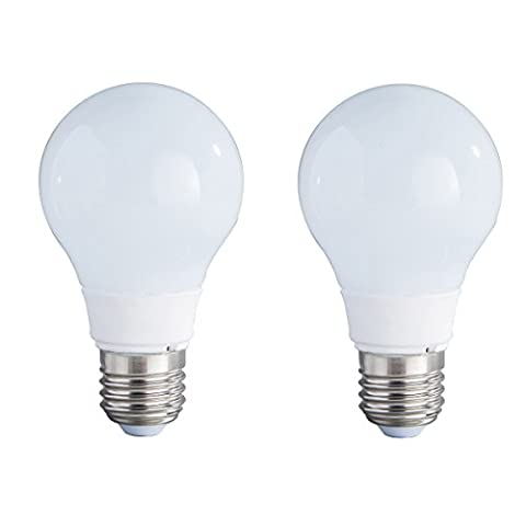 2-Pack Non-dimmable 5w (25w équivalent) Soft White 3000K LED Light A60 Ampoules E27 Base 270 Degree Beam Angle