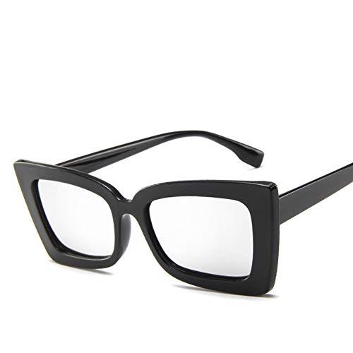 Taiyangcheng Sonnenbrillen mit eckigem Gestell und Sonnenbrille für Frauen,Schwarzes Silber