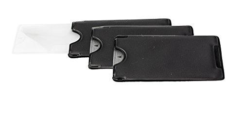 Edison & King Scheckkartenlupe/Fresnel-Lupe/Blattlupe im Etui (Dreierpack)