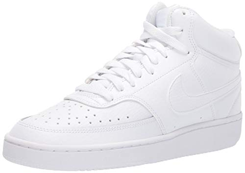 Nike Womens Court Vision Mid Basketball Shoe, White/White-White, 40 EU