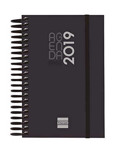 Finocam 780536019 - Agenda diaria 2019, Negro, 90 x 135 mm
