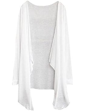 Camisas Mujer Chaqueta larga Delgada de la Mujer Cardigan Moda de Protección Solar Tops de Ropa