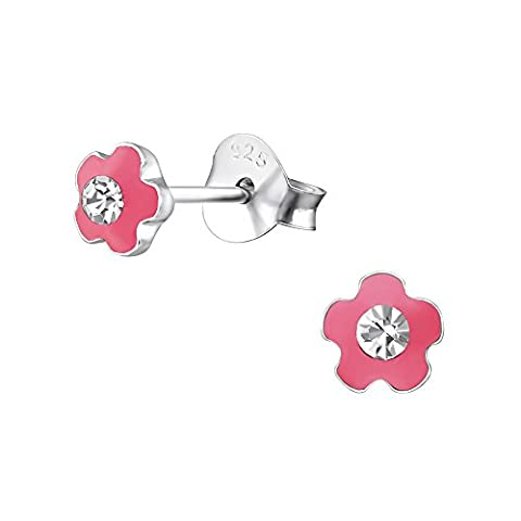 Tiny Pink Flower (with Crystal Stone) Sterling Silver Stud Earrings