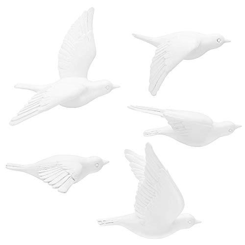 3D Vogel Wanddeko, Dekovogel aus Harz Wandobjekt für Wohnzimmer Schlafzimmer Büro Dekor, 5 Stücke (Weiß)