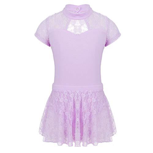 Freebily Ballett Kleid für Mädchen Ballett Tanz Trikot Body mit Rock Outfit Ballettkleidung Wettbewerb Kostüm Eiskunstlauf-Kleid Spitze Applique Skating Dress Lavender 122-128/7-8Jahre -