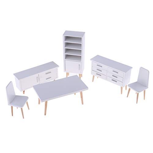 B Blesiya 6-TLG 1/12 Puppenhaus Miniatur Esszimmer Möbel aus Holz, inkl. Tisch, Stuhl, Schrank, Kabinett und Bücherregal -