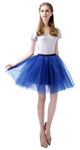 Feoya Damen Mädchen Kurz Tutu Rock Tüllrock Multi-Schichten Tütü Crinoline Minirock 1950s Vintage Ballett Tanzkleid Unterrock Faschings Kostüm (Leicht 1950 Kostüme)
