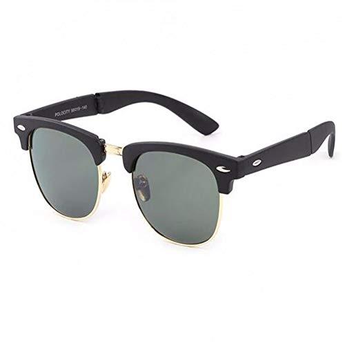 HPTAX-VB Spiegeln Retro Sonnenbrille Für Frauen Und Männer Scharnier Falten Rahmen Tragbare Classic Drive Sonnenbrille Anti Brillenkontrolle Anti-Uv Brillen