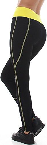 Flower Power - Legging de sport - Slim - Uni - Femme Noir/jaune