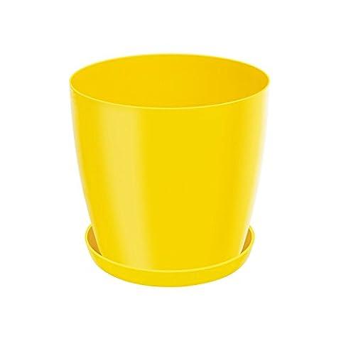 2,2 L Blumentopf Übertopf inkl. Untersetzer gelb rund Kunststoff Glanz