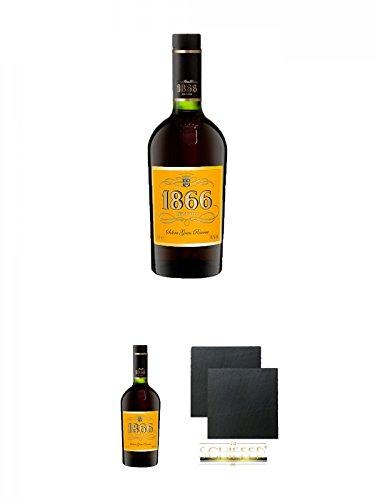 1866 Brandy Gran Reserva 0,7 Liter + 1866 Brandy Gran Reserva 0,7 Liter + Schiefer Glasuntersetzer eckig ca. 9,5 cm Ø 2 Stück