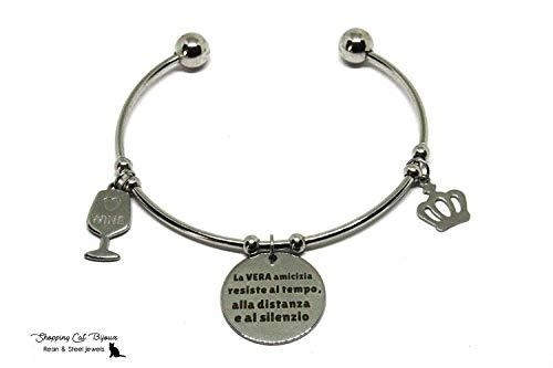 Braccialetto rigido in acciaio aperto con frase incisa sull'amicizia - Bracciale in acciaio inox