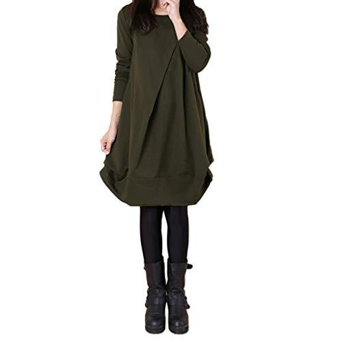 TUDUZ Womens Langarm Ketten Print Damen Freizeithemd Tops V-Ausschnitt Bluse Tee Kleider Print Tee Kleid