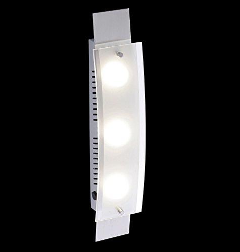 Wandleuchte LED Nickel matt Glas 3-flammig 210663 Deckenleuchte Spot Design Lampe Leuchte Beleuchtung - 2