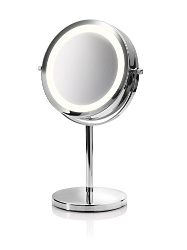 Medisana CM 840 Kosmetikspiegel mit LED Beleuchtung, normal und 5-fache Vergrößerung, 13 cm Durchmesser, 18 LEDs, verchromt