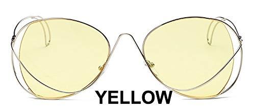 LKVNHP Marke Metall Oval Damen Sonnenbrille Uv Protector Gradient Summer Sea TrendyBrillengestellFrauen TrendyWTYJ028 gelb