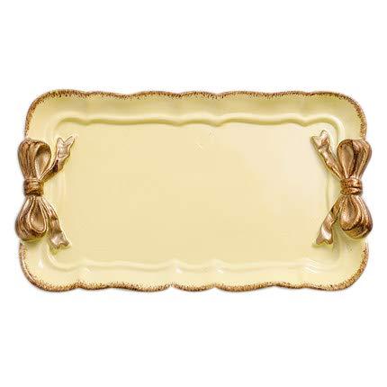 TOOGOO Style Européen Arc Plateaux de Rangement de Gateau de Maquillage Organisateur Assiette à Dessert Carré Décor Plateau Plateaux de Rangement de Cuisine 12 x 20 cm Jaune