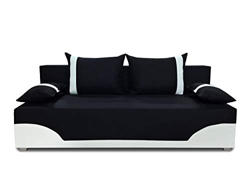 Bettsofa Schlafsofa Sofa Dario - Klappsofa mit Schlaffunktion und Bettkasten, Schlafcouch, Couch, Couchgarnitur, Sofagarnitur (Schwarz + Weiß (Neo 15 + Dolaro 511))
