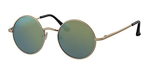 Runde Sonnenbrille, Gelenkarme, gelbe Gratis-Halsband, blaues Spiegelobjektiv, silberner Metallrahmen.