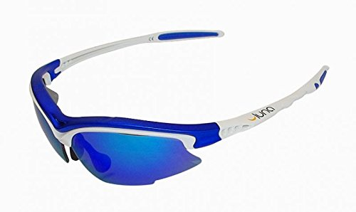 Luna Sky laufen Radfahren Sonnenbrillen mit hart Schutzhülle (blau Revo Linsen, weiss/blau-Frame) mit grauen Wechselobjektiven