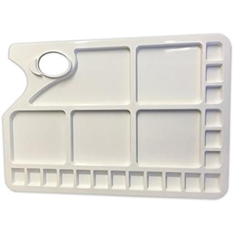 Paleta de plástico con agujero artista Rectangular - 5 grandes y pequeños 18 pozos de mezcla