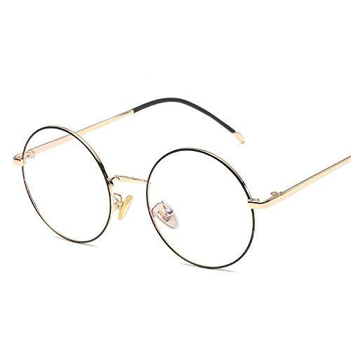 Herren Sonnenbrillen Retro Plain Brillen Trend Brillengestell Metall Runde Klassische Mode Brillengestell LTJHJD (Color : 01Gold, Size : Kostenlos)
