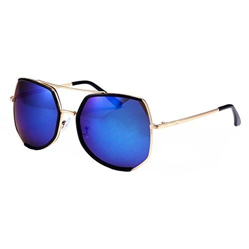 Einzigartige UV-Schutz Brillen Flash-Spiegel-Objektiv-Sonnenbrille, Blau