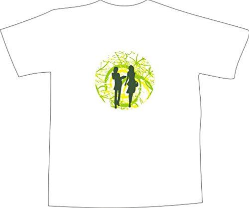 T-Shirt E476 Schönes T-Shirt mit farbigem Brustaufdruck - Logo / Grafik - abstraktes Design - Retro Tribal mit Frauensilhouette und Rankengewirr Schwarz