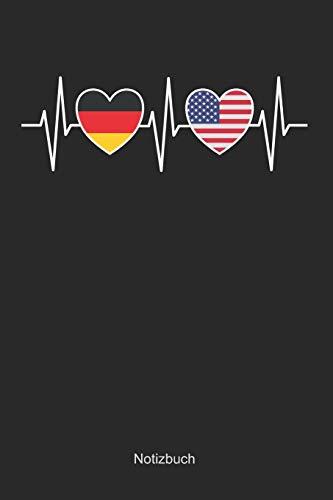 Herzschlag - Deutschland und Vereinigte Staaten von Amerika: Blanko / leeres Notizbuch / Tagebuch blanko | 15,24 x 22,86 cm (ca. DIN A5) | 120 Seiten (Von Vereinigte Staaten Amerika)