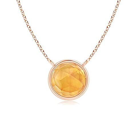 Bezel Set Round Citrine Solitaire Necklace in 14K Rose Gold (5mm Citrine)