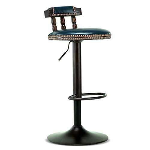Moderner Barhocker-Stuhl-hoher Schemel Barhocker Stuhl Fußstütze mit Blau PU Sitz Holz Rückenlehne Verstellbare Swivel Gas Lift 60 ~ 80cm für Frühstück Pub Café Barhocker Metallgestell Max. Laden Sie