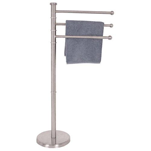 MSV 140338 Porte-Serviette 3 Tiges Bambou/Acier Inoxydable Blanc 30 x 20 x 110 cm