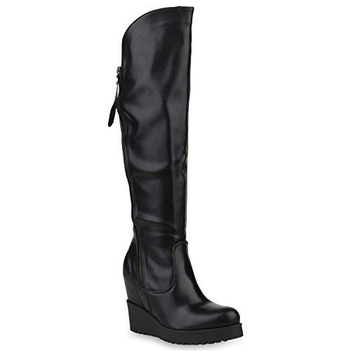 Stiefelparadies Gefütterte Damen Schuhe Stiefel High Heels Holzoptikabsatz Elegant 153246 Schwarz Carlet 38 | Flandell® (Keil-stiefel)