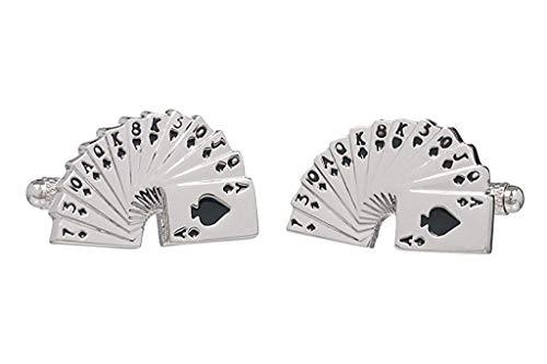 Carte main-Casino-Boutons de manchette-cartes en Onyx Art Boutons de manchette en forme de boîte