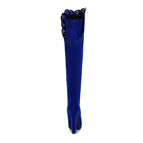 AllhqFashion Damen Rund Zehe Hoher Absatz Hoch-Spitze Rein Stiefel mit Metallisch Blau