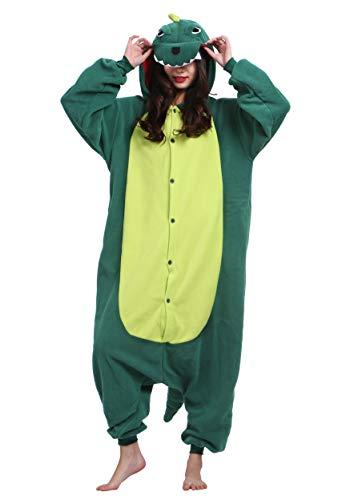 Unisex Kigurumi Jumpsuit Tier Pyjamas Kostüm Fasching Onesie Damen Herren Karneval Cosplay Nachtwäsche, Grün (Die Besten Halloween Kostüme Für Erwachsene Paare)