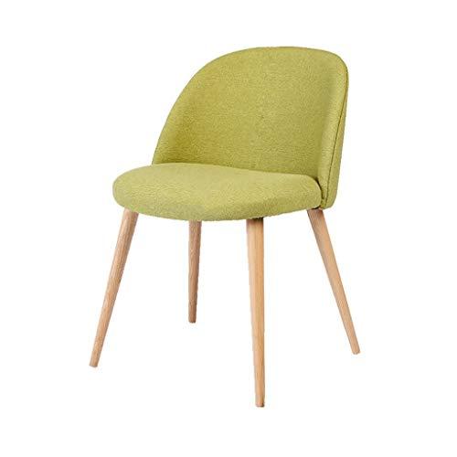 AFDK Nordischen Stil Esszimmerstuhl Sommer Baumwolle und Leinen Massivholz Stuhl Stoff Sofa Stuhl Einfache Hocker Schreibtisch Computer Zurück Massivholz Stuhl,Grün -