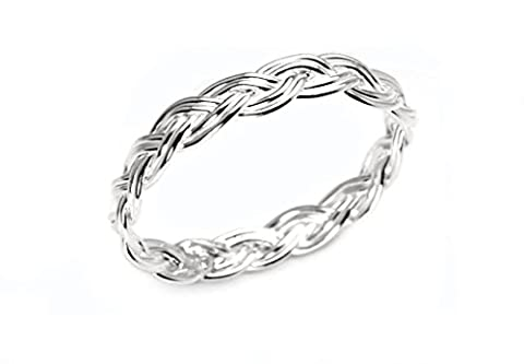 Sterling Silver Basket Weave Woven Ring with Gift Box - Choice of Sizes (J 1/2)