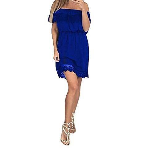 Sommerkleider Damen VENMO Frauen aus Schulter Spitze Röcke Sommerkleid Damen-Party Casual Kurzes Kleid (L, Blue)