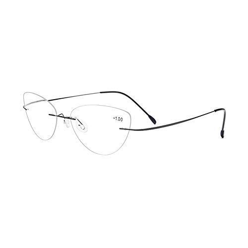 GEMSeven Frauen Cat Eye Randlose Lesebrille Titanlegierung Rahmenlose Presbyopische Hyperopie Brillen