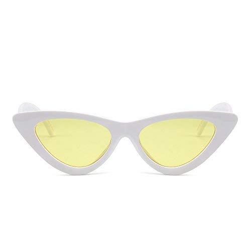 JM Retro Clout Goggles Katzenauge Sonnenbrille Niedlich Plastik Getönt Linsen Brille Damen(Weiß/Gelb)